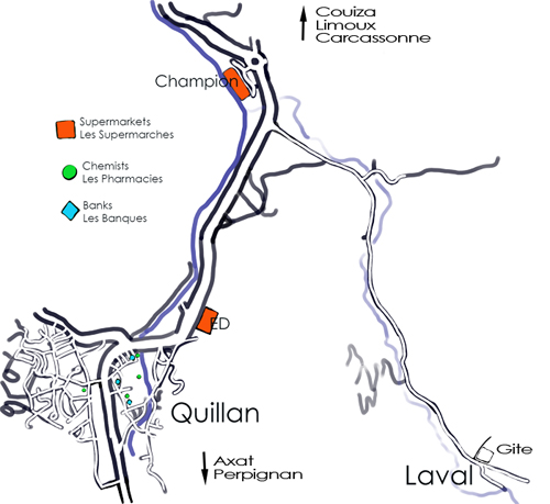 Map to self-catering gite in Hameau de Laval, Quillan map Aude
